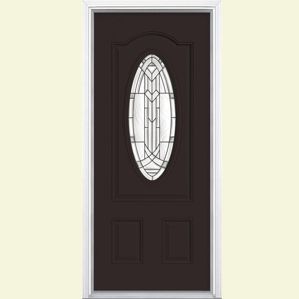 Chatham 3 4 Oval Lite Right Hand Inswing Painted Steel Prehung Front Door With Brickmold Vinyl Frame