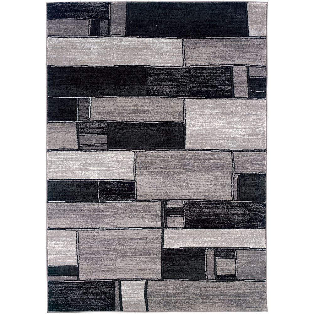 LR Resources Contemporary Charcoal and Grey 7 ft. 9 in. x 9 ft. 9 in. Plush Indoor Area Rug