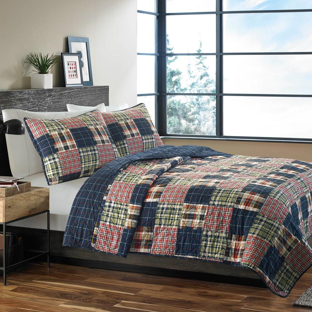 Madrona 3-Piece Blue Plaid Cotton Full/Queen Quilt Set