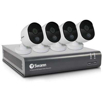 8-Channel 1080p 1TB DVR Surveillance System with 4 PIR Wired Bullet Cameras