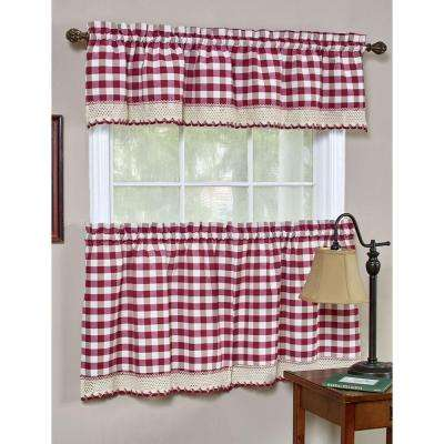 Semi-Opaque Buffalo Check Navy Rod Pocket Tier Pair with Macrame Trim