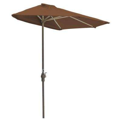 Off-The-Wall Brella 9 ft. Patio Half Umbrella in Teak Sunbrella