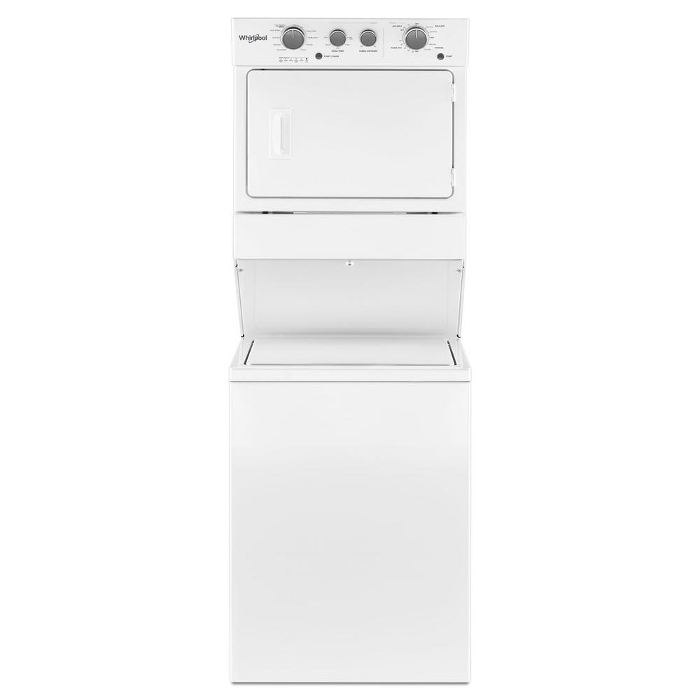 Whirlpool White Laundry Center with 3.5 cu. ft. Washer and 5.9 cu. ft. Electric Dryer with 9 Wash cycles and Autodry Get the capacity you want and the space you need with an electric stacked washer and dryer combination. The washer with fabric softener dispenser releases fabric softener at just the right time. The dryer automatically senses when clothes are ready and stops the cycle to help prevent over drying. Color: White.