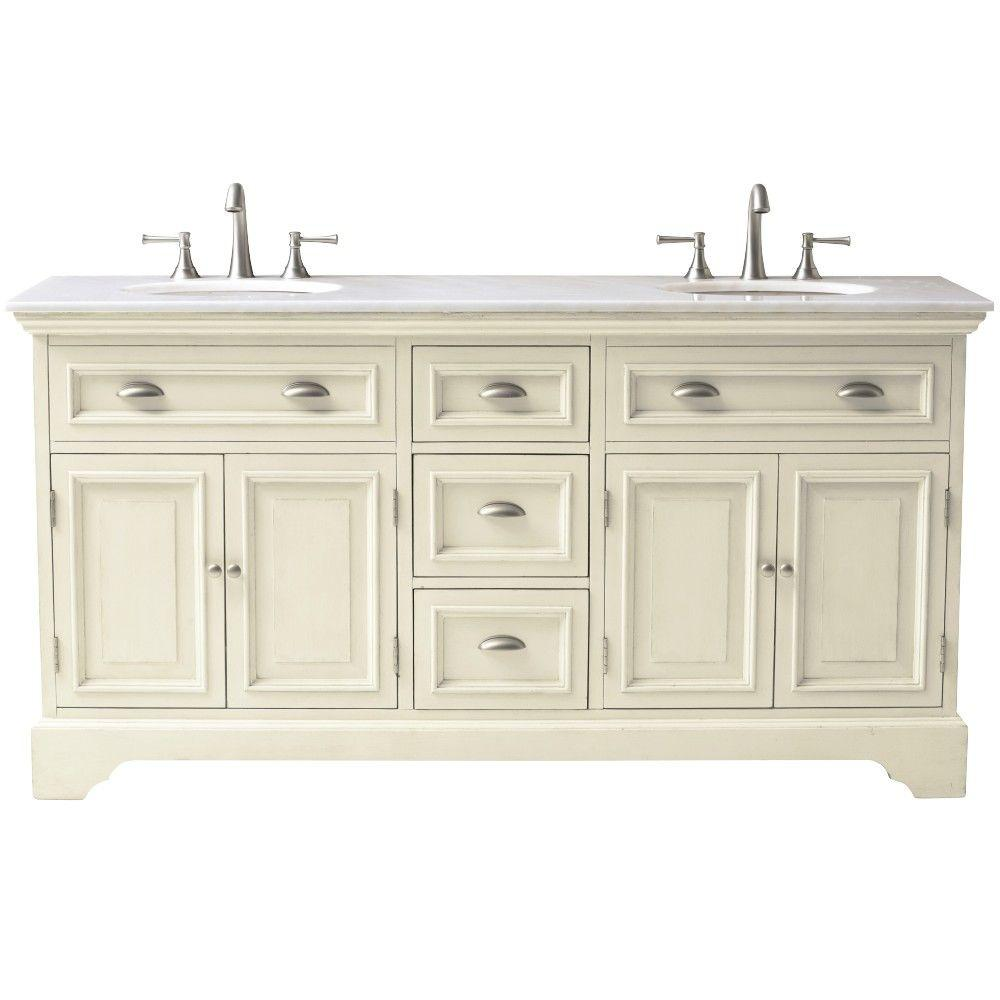 Home Decorators Collection Sadie 67 in. W Double Bath Vanity in Antique Cream with Natural Marble Vanity Top in White