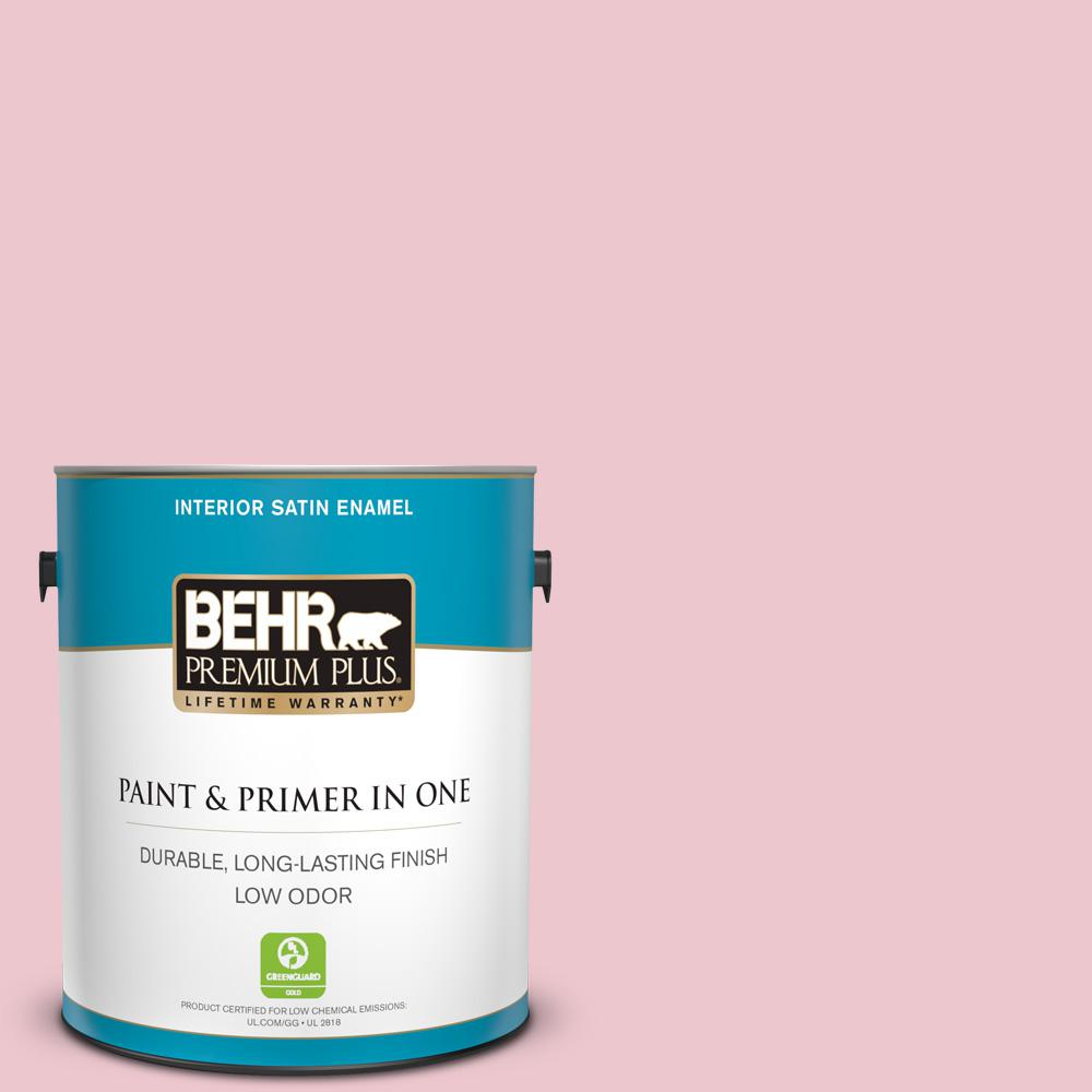 BEHR Premium Plus 1 gal. #M140-2 Funny Face Satin Enamel Low Odor Interior Paint and Primer in One For a paint that's as versatile as it is beautiful, choose BEHR PREMIUM PLUS Low Odor, Paint & Primer in One Satin Enamel Interior paint. This rich, all-surface sheen is great for any room in the house! The pearl-like finish makes it perfect for adding a pop of color to both walls and trim. Color: Funny Face.