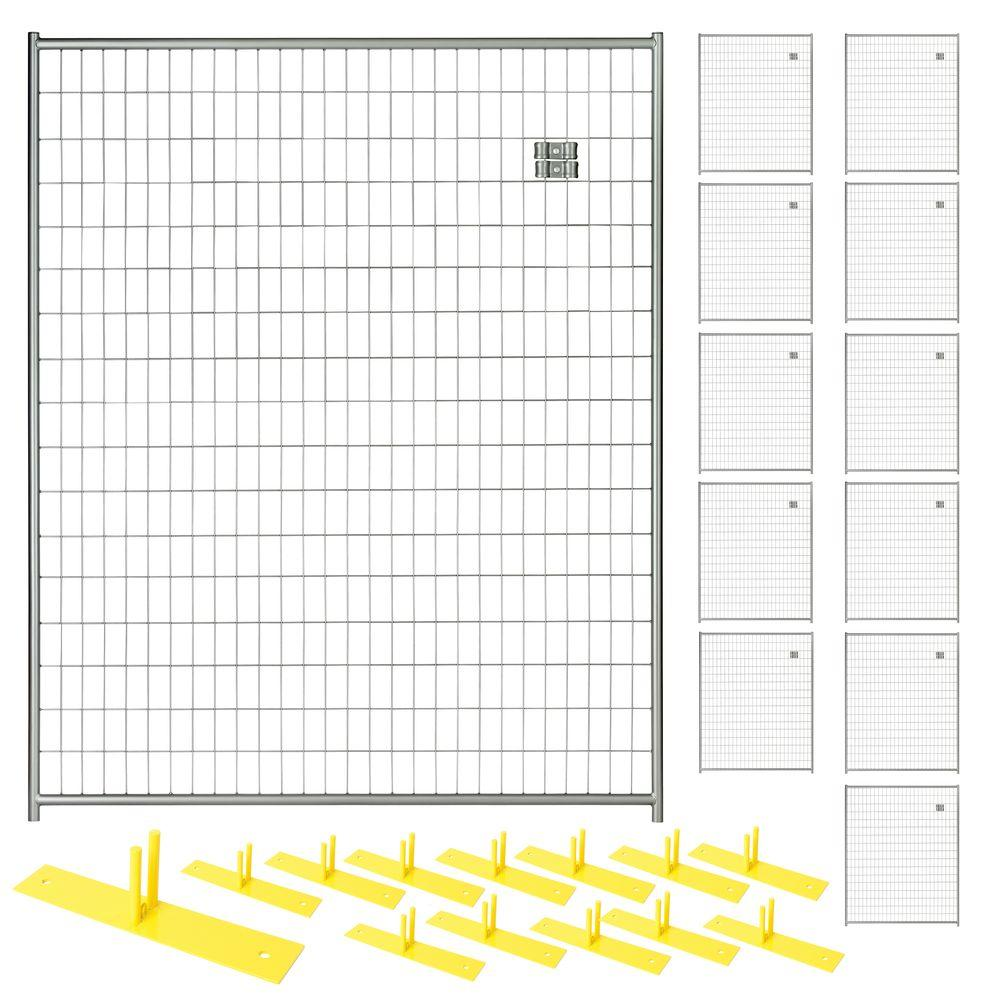 6 ft. x 60 ft. 12-Panel Silver Powder-Coated Welded Wire ...