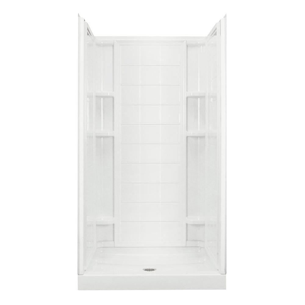 STERLING Ensemble 35-1/4 in. x 36 in. x 77 in. Shower Kit in White ...