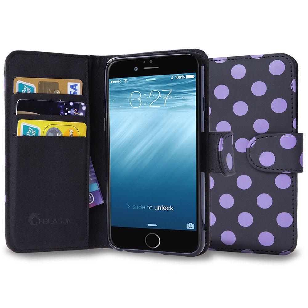pretty nice d7b4c e5d9e i-Blason Leather Book Wallet Case for Apple iPhone 6/6S, Dal/ Black