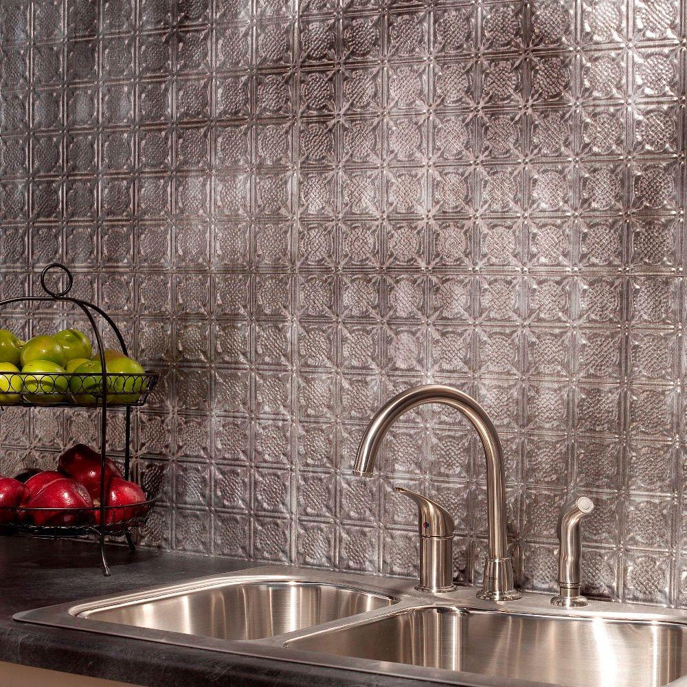 24 in. x 18 in. Traditional 6 PVC Decorative Backsplash Panel in Crosshatch Silver