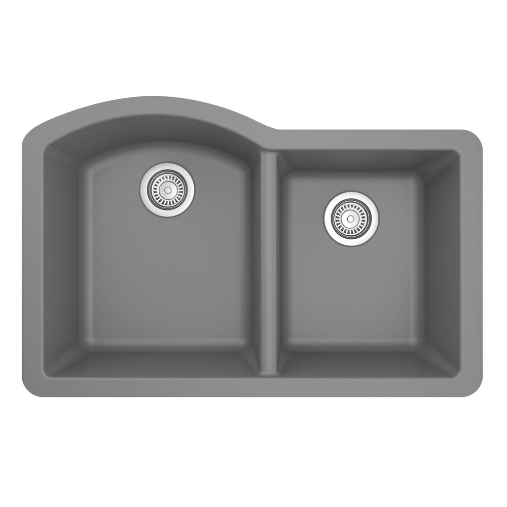Karran Undermount Quartz Composite 32 in. 60/40 Double Bowl Kitchen Sink in Grey