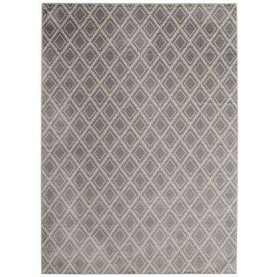 Alpina Collection Grey and Ivory 5 ft. 3 in. x 7 ft. 3 in. Stripes Area Rug