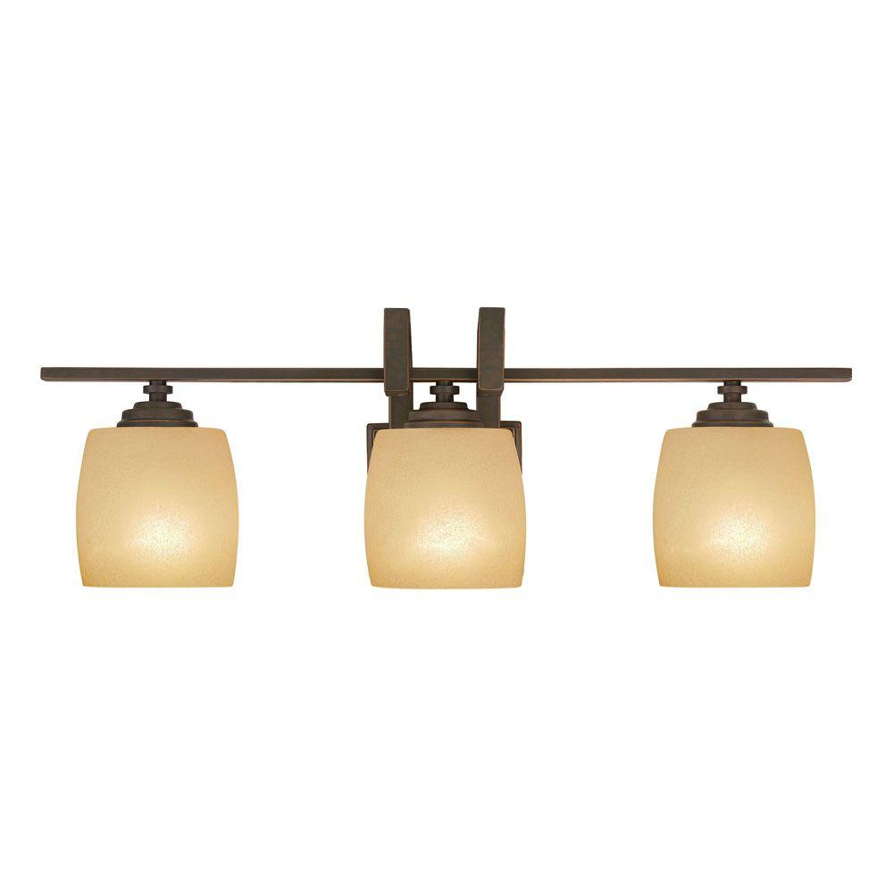 Vanity Light Home Depot: Hampton Bay 3-Light Bronze Vanity Light With Scavo Glass