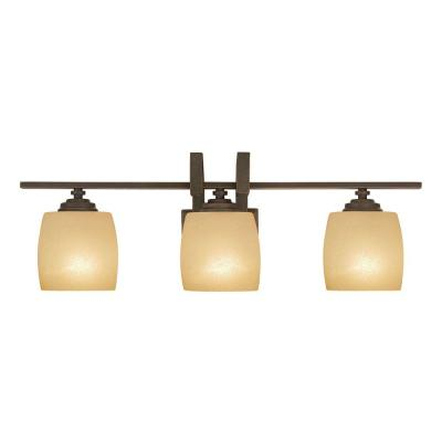 3-Light Bronze Vanity Light with Scavo Glass Shade