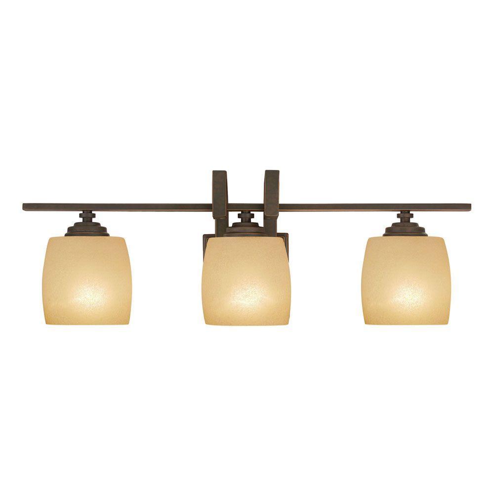 Hampton Bay 3 Light Bronze Vanity Light With Scavo Glass Shade 25107 The Home Depot