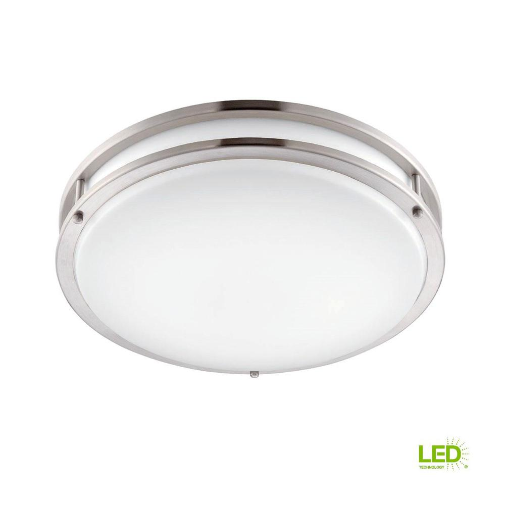 Brushed Nickel White Led Ceiling Low Profile Flush Mount