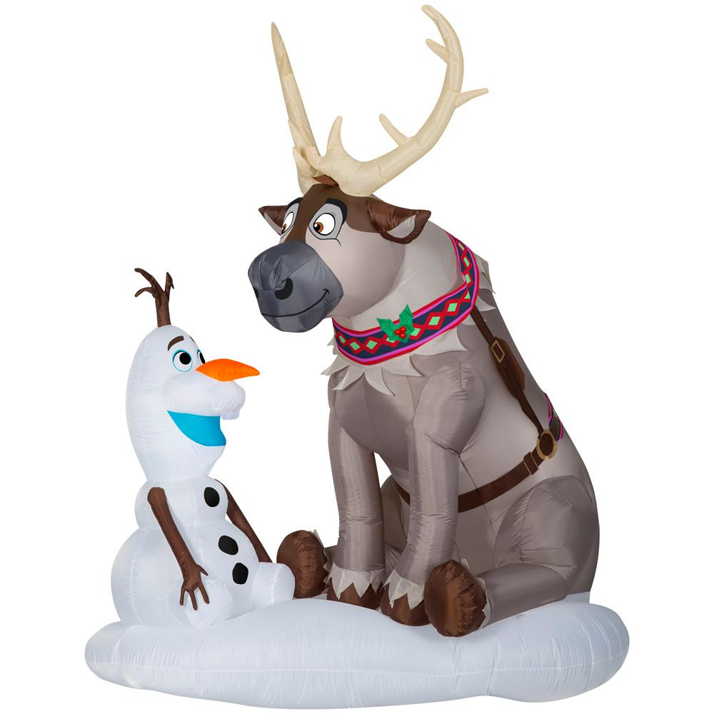 Disney 7 ft Pre lit Inflatable Airblown Olaf and Sven Scene
