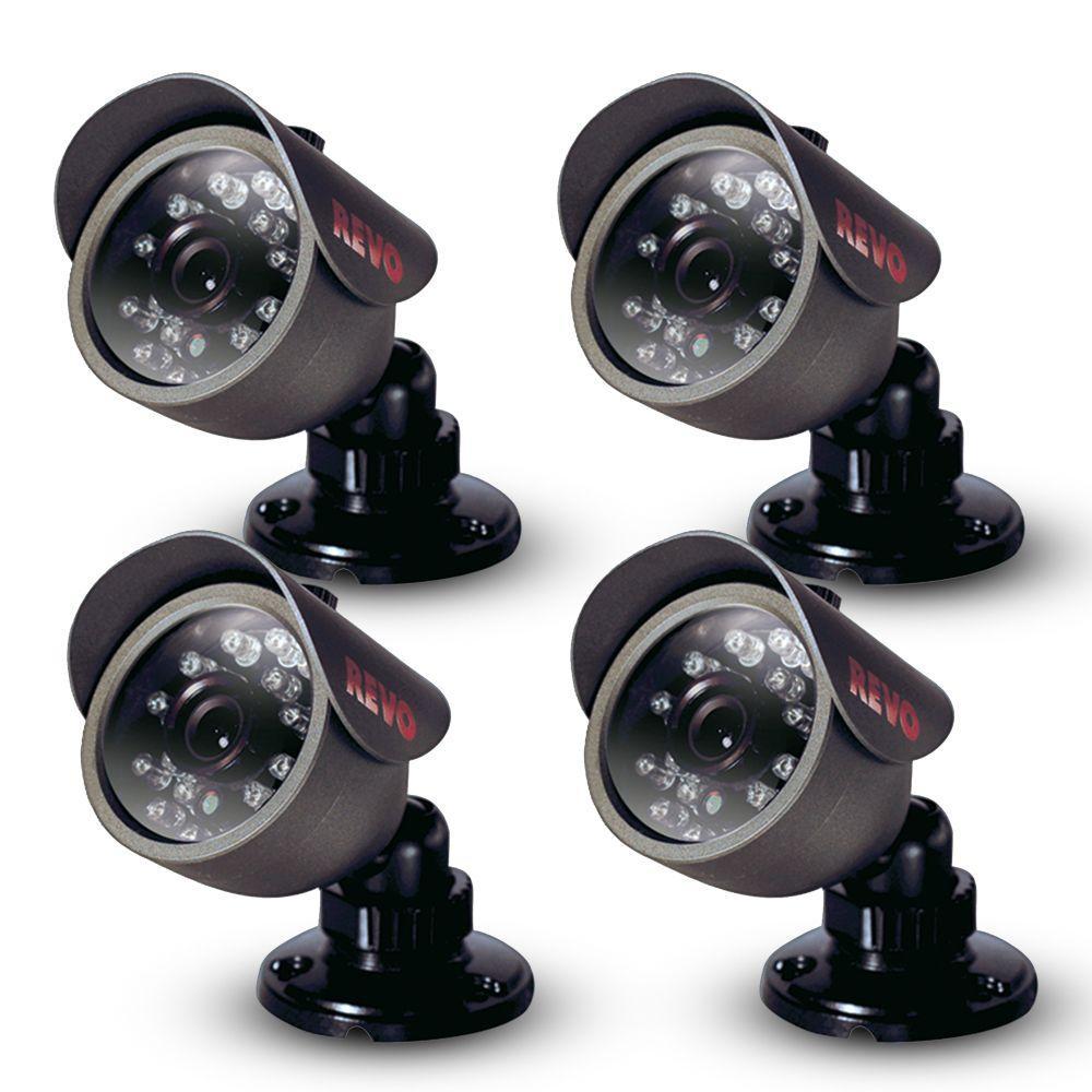 Revo 450 TVL Indoor/Outdoor Bullet Surveillance Cameras (4-Pack)