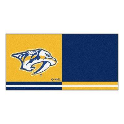 NHL - Nashville Predators Navy Blue and Gold Pattern 18 in. x 18 in. Carpet Tile (20 Tiles/Case)