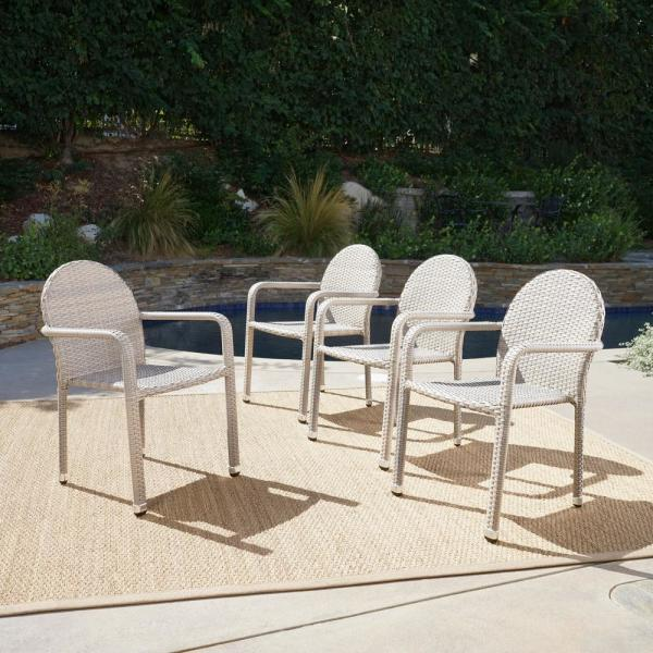 Aurora Chateau Grey Stackable Wicker Outdoor Dining Chair (4-Pack)