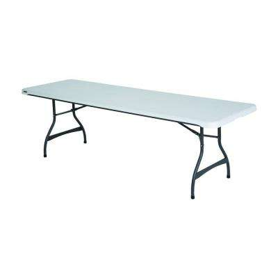 96 in. White Plastic Folding Banquet Table