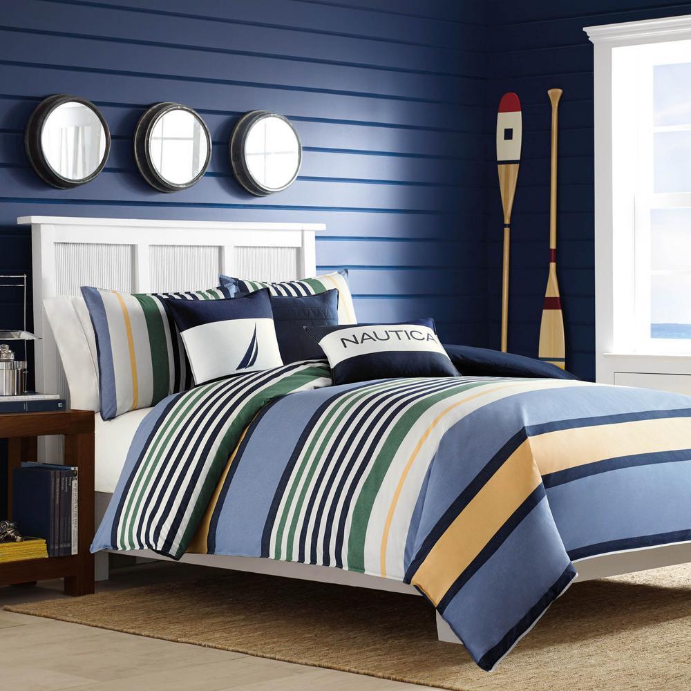 Dover 3-Piece Multicolored Striped Cotton Full/Queen Comforter Set