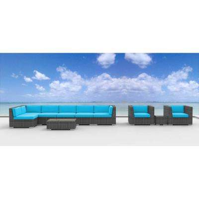 Manado 10-Piece Wicker Outdoor Sectional Seating Set with Sea Blue Cushions