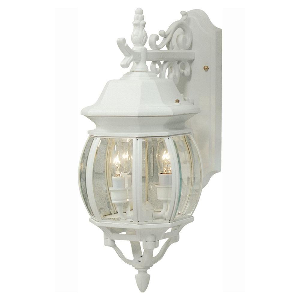 Sergej 3-Light White Outdoor Wall Lantern