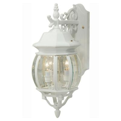 Sergej 3-Light White Outdoor Wall Lantern Sconce