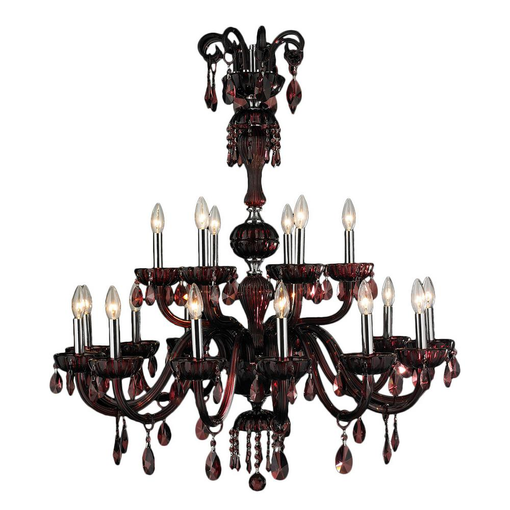 Carnivale 18-Light Polished Chrome and Cranberry Crystal 2-Tier Large Chandelier