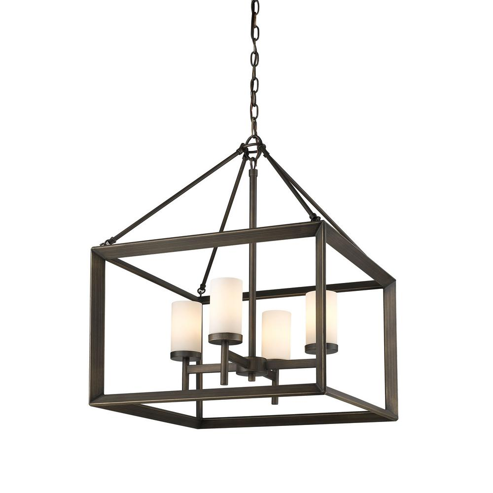 Smyth 4-Light Gunmetal Bronze Chandelier with Opal Glass Shades