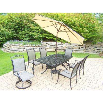 9 Piece Black Aluminum Outdoor Dining Set And Beige Umbrella