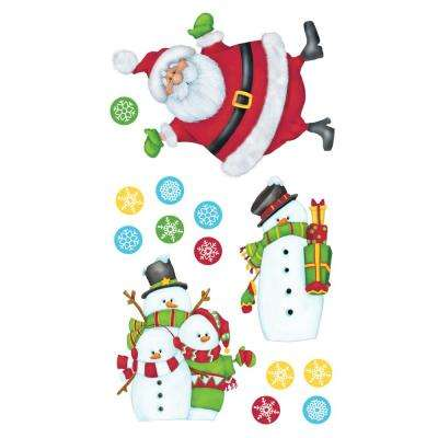 10 in. Multi Santa and Friends Applique Wall Decal Stickers with Penguins Reindeer and Snowmen