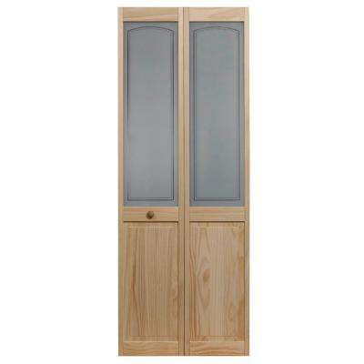 36 in. x 80 in. Mezzo Glass Over Raised Panel Pine Interior Bi-Fold Door