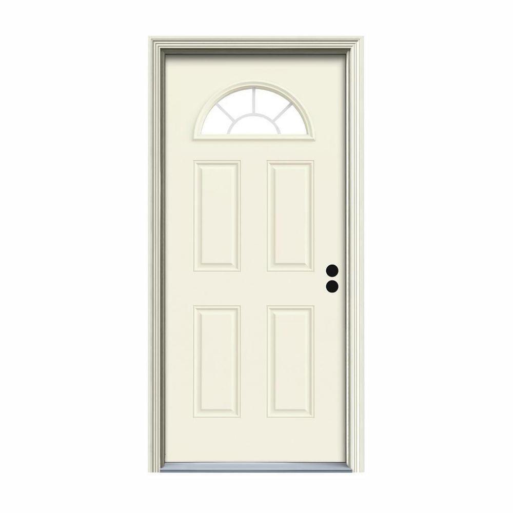 30 in. x 80 in. Fan Lite Vanilla Painted Steel Prehung Left-Hand Inswing Front Door w/Brickmould