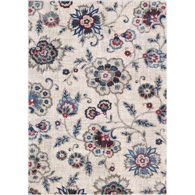 Amba Botanical Dream Beige 8 ft. x 10 ft. Floral Area Rug