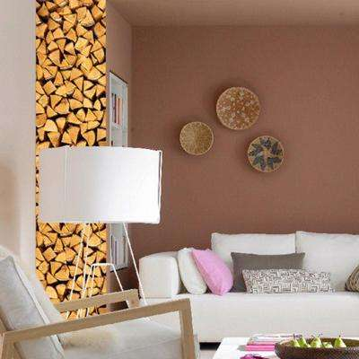 80 in. H x 80 in. D 3-Piece Wood Pile Wall Stripes Sticker (3-Sheets)