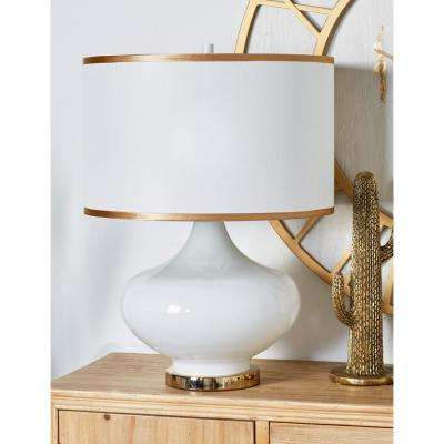25 in. White Vase-Shaped Table Lamp with Gold Accents