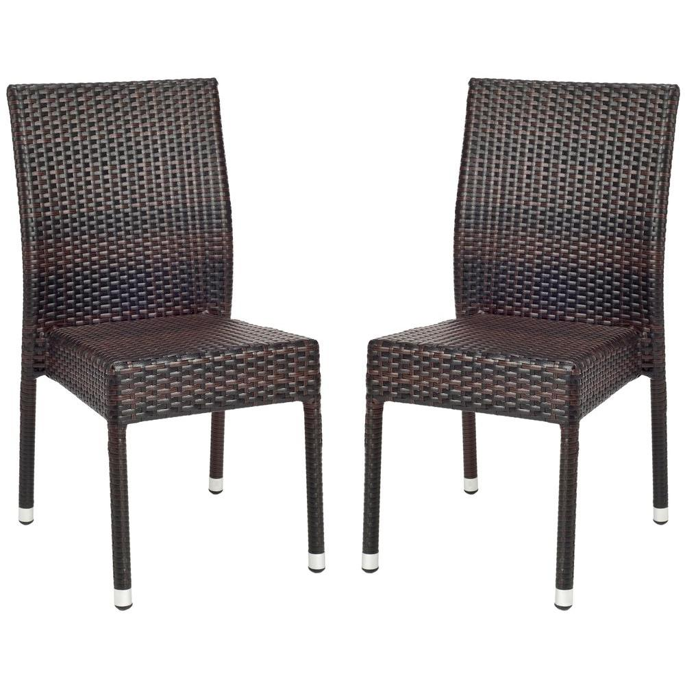 Safavieh newbury tiger stripe aluminum frame patio wicker chair 2 pack