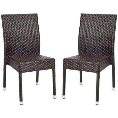 Newbury Tiger Stripe Aluminum Frame Patio Wicker Chair (2-Pack)