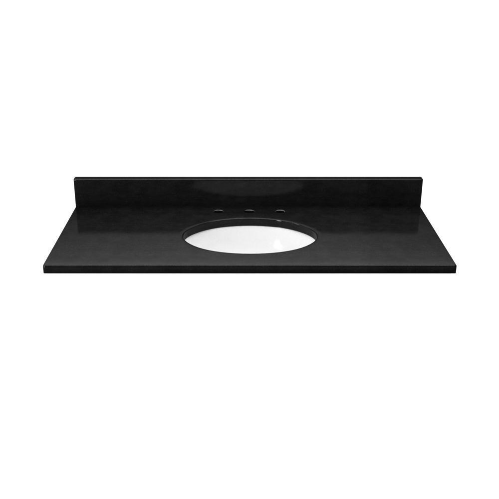Solieque 37 in. Quartz Vanity Top in Deep Space with White Basin