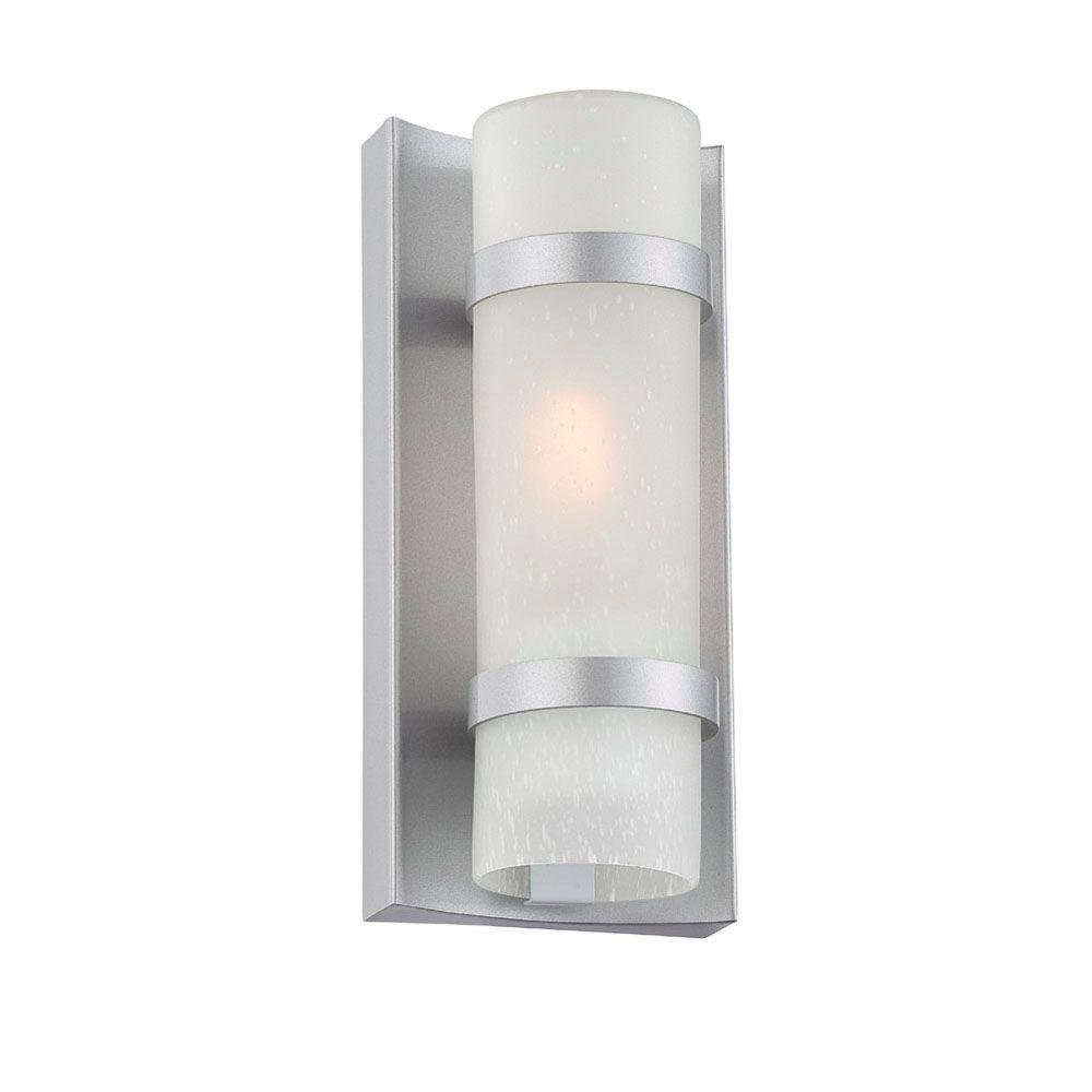 Apollo Collection 1-Light Brushed Silver Outdoor Wall Mount Light Fixture