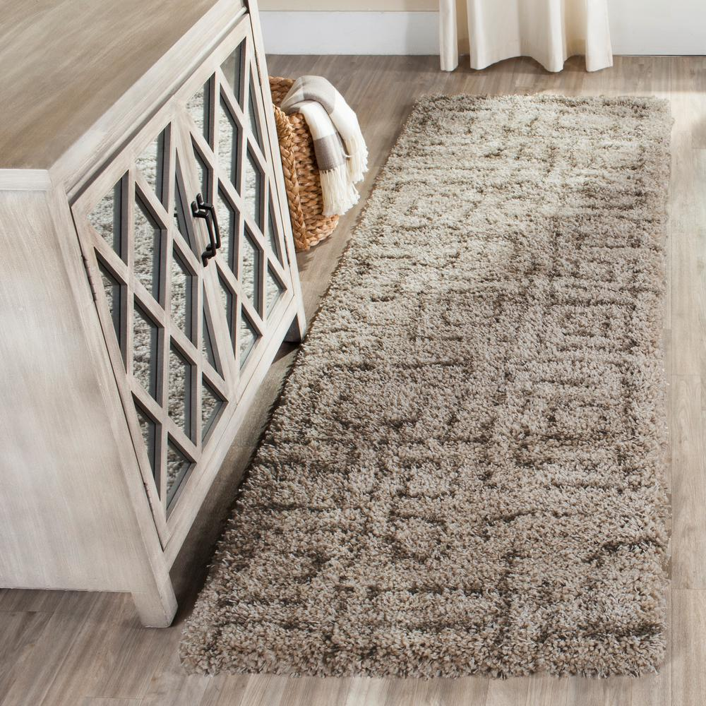 Is Taupe Grey: Safavieh Belize Shag Taupe/Gray 2 Ft. X 7 Ft. Runner Rug