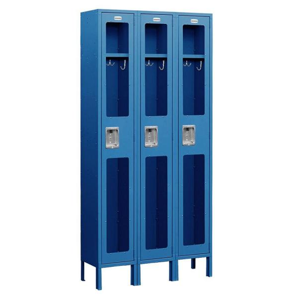 S-61000 Series 36 in. W x 78 in. H x 15 in. D Single Tier See-Through Metal Locker Unassembled in Blue