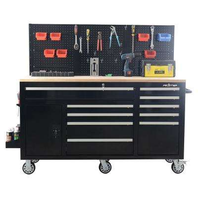 62 in. 10-Drawer Tool Chest Cabinet with Pegboard Back Wall, Heavy Duty Mobile Workbench in Black
