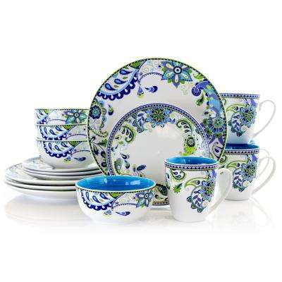 Colorful Bazaar 16-Piece Casual Paisley Ceramic Dinnerware Set (Service for 4)