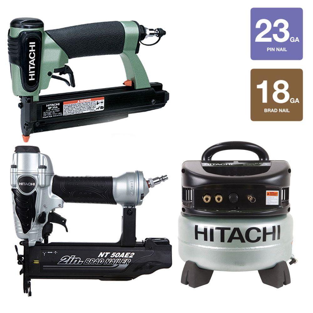 Hitachi 2 in. Finish Nailer, 1-3/8 in. Pin Nailer and 6 gal. Compressor Kit (3-Piece)