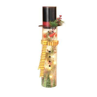 h lighted crackle glass snowman
