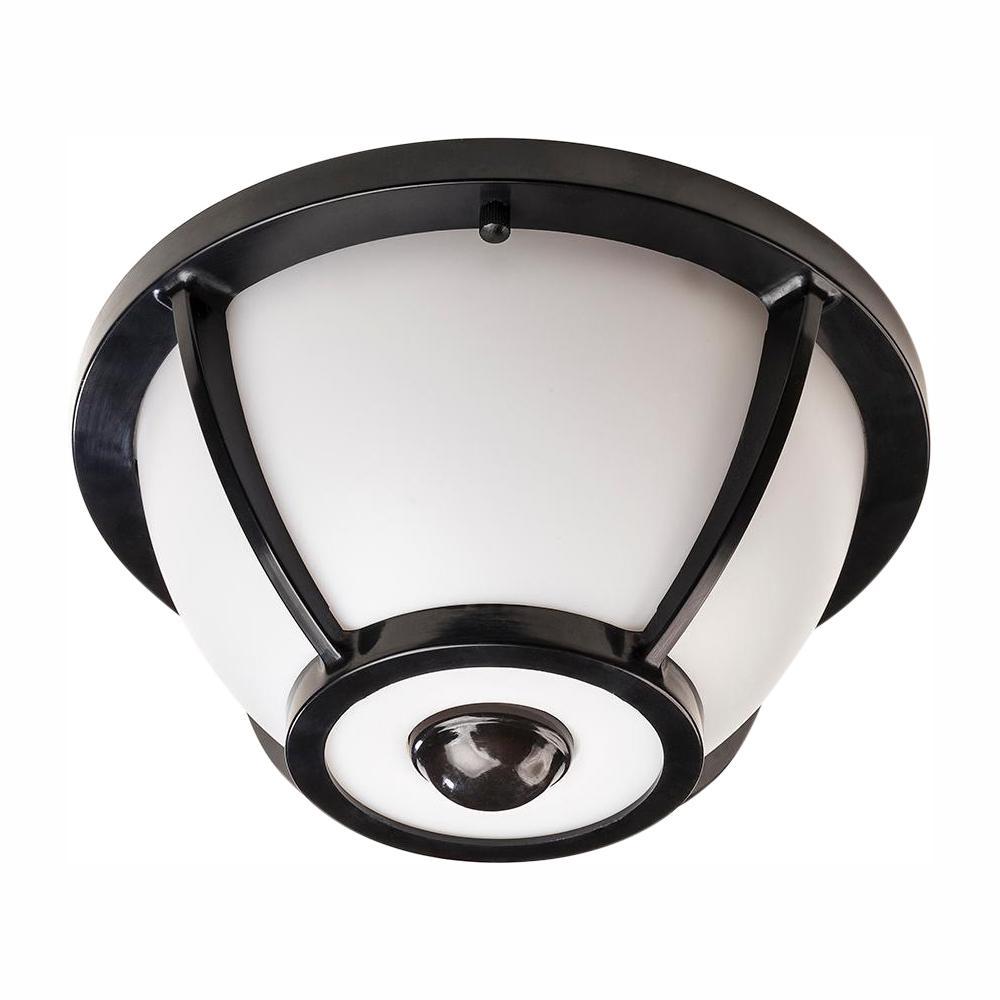 360 Degree Matte Black Round Integrated Led Motion Sensing Outdoor Flush Mount