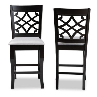 Nisa 43 in. Gray and Espresso Counter Stool (Set of 2)