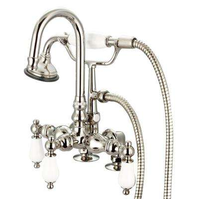 3-Handle Vintage Claw Foot Tub Faucet with Hand Shower and Porcelain Lever Handles in Polished Nickel PVD